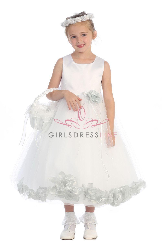 Whitesilver Sleeveless Satin Flower Petal Flower Girl Dress K160b