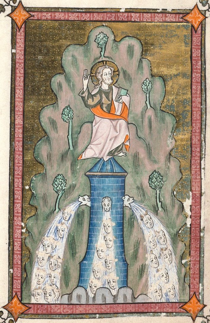 Face fountain (f°34r) -- «Rothschild Canticles», Flanders or the Rhineland, ca 1400 [Beinecke MS 404]. -- http://brbl-dl.library.yale.edu/vufind/Record/3432521