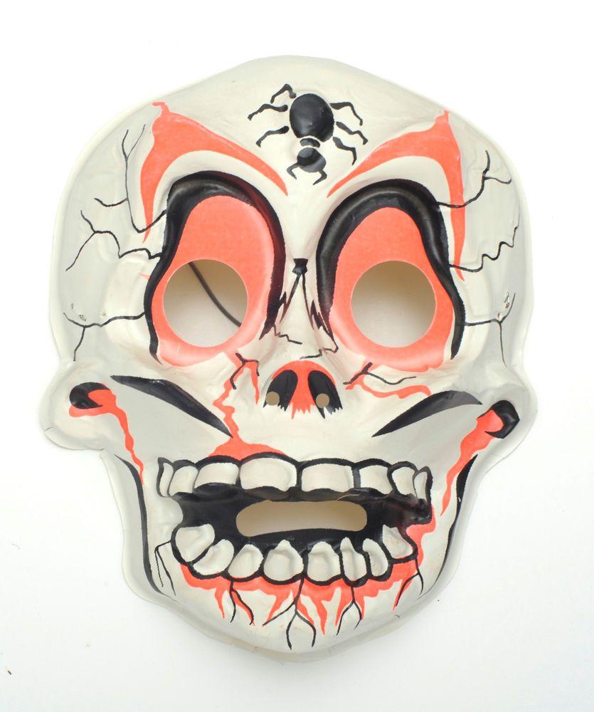 Skeleton Vintage plastic Collegeville Ben Cooper Halloween Mask NR ...
