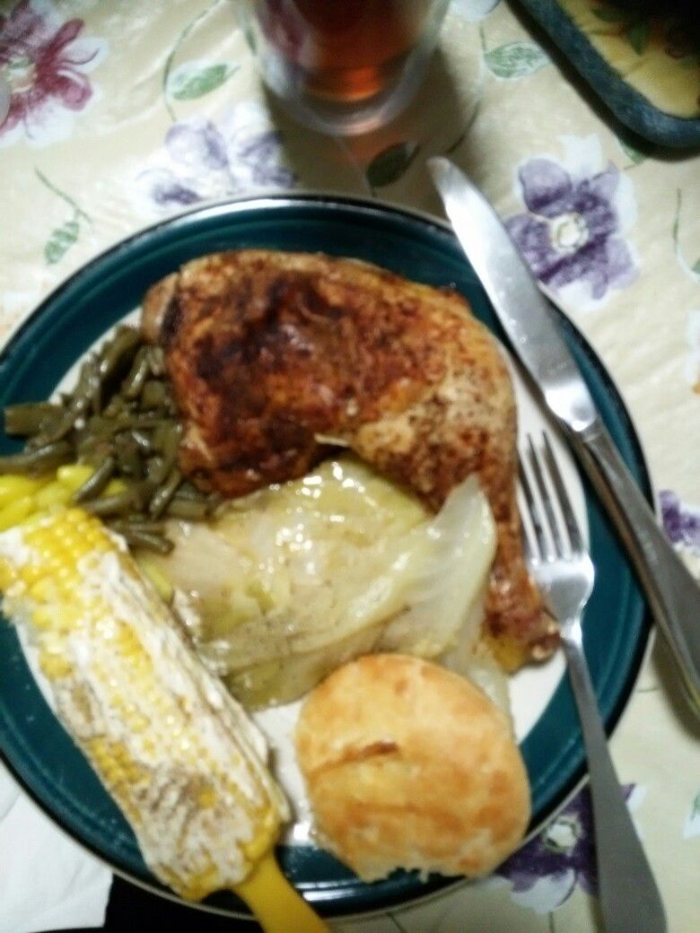 Baked chicken , stewed cabbage , corn on the cob,