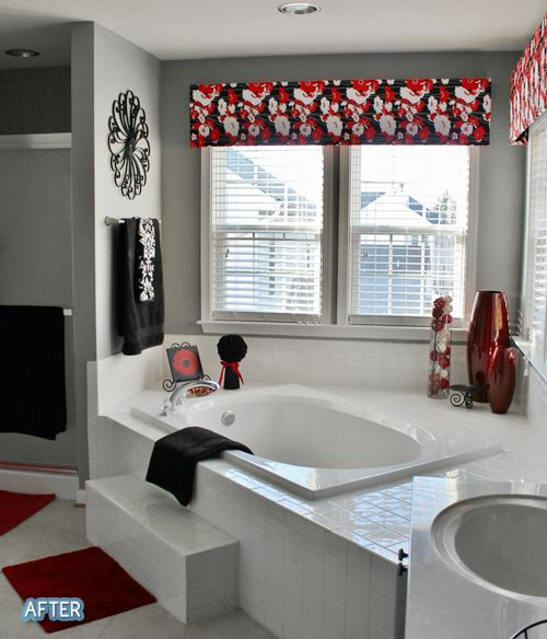 White Red And Black Bathroom Accessories On A Plain White Base Red Bathroom Decor Black Bathroom Decor Bathtub Decor