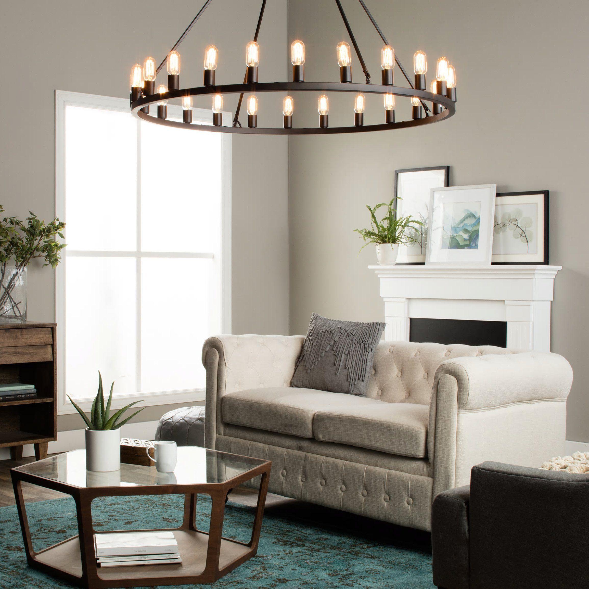 Rustic Chandelier Centerpiece With Bulbs For Modern Farmhouse