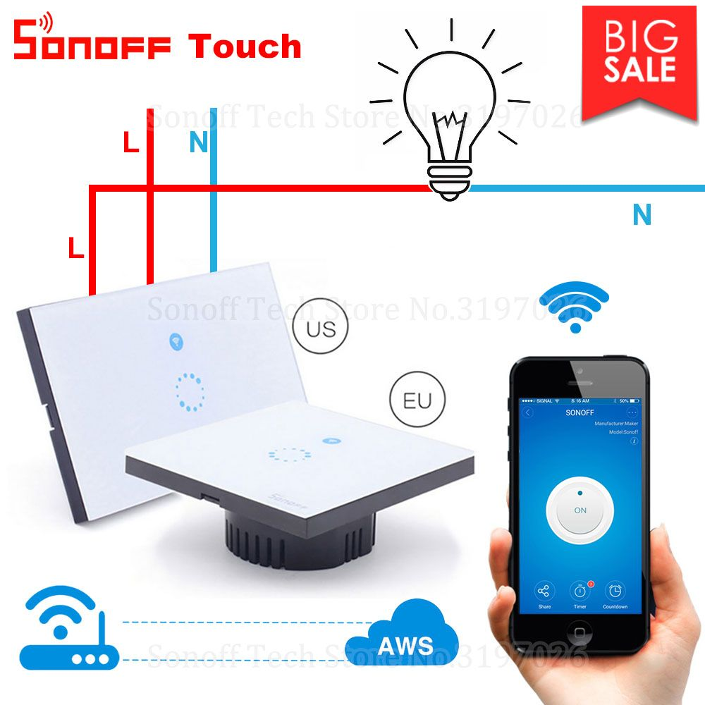 Itead Sonoff Touch Eu Us Wifi Wall Touch Switch 1 Gang 1