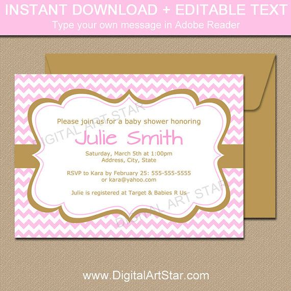 pink and gold invitation template instant download baby shower