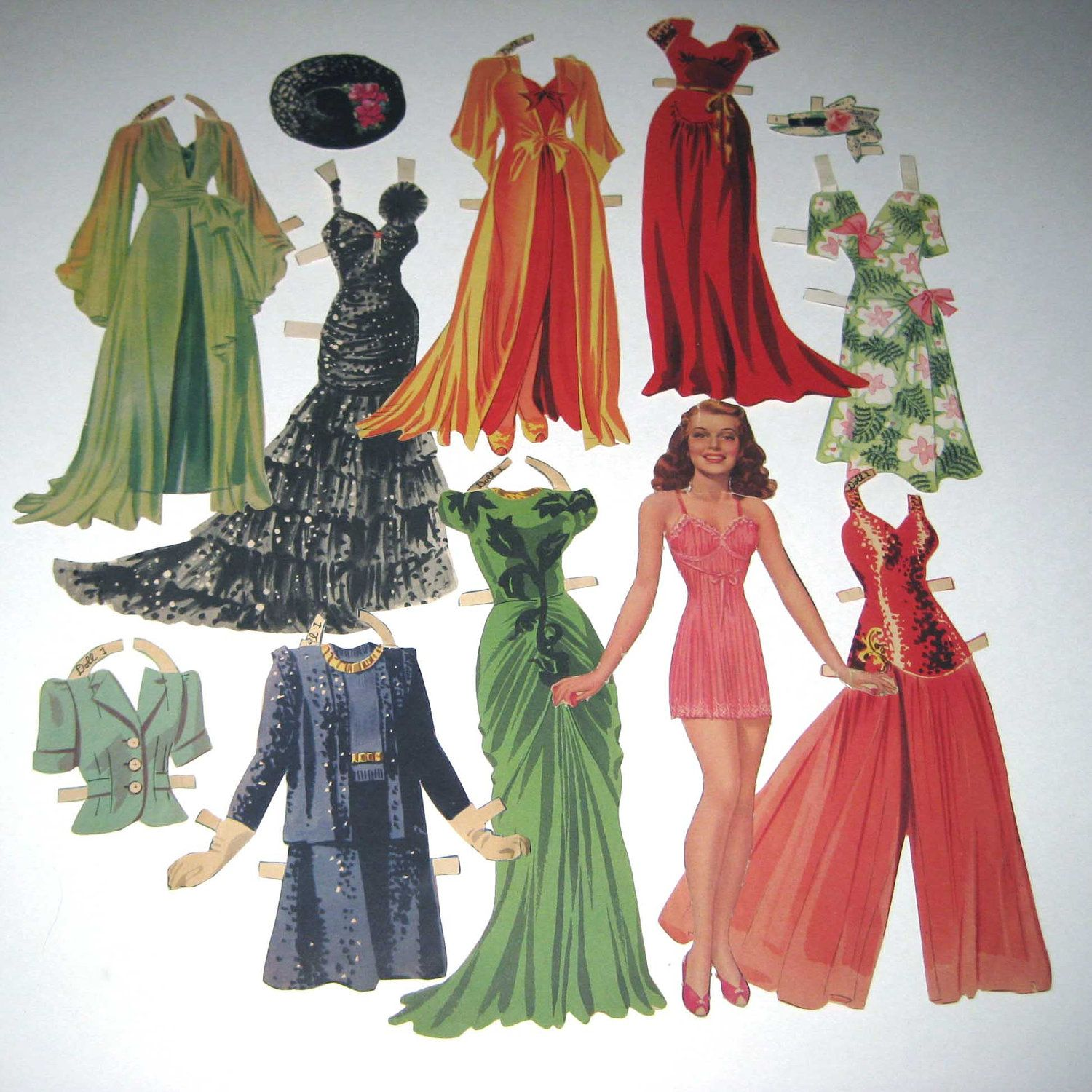 Reserved For Ani Vintage 1940s Rita Hayworth Movie Star Paper Dolls With Outfits Paper Dolls Vintage Paper Dolls Rita Hayworth