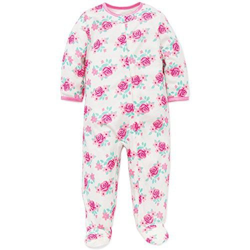 2dca397795d0 Little Me Baby Girls Floral Zip Footie Pajamas Footed Sleeper White ...