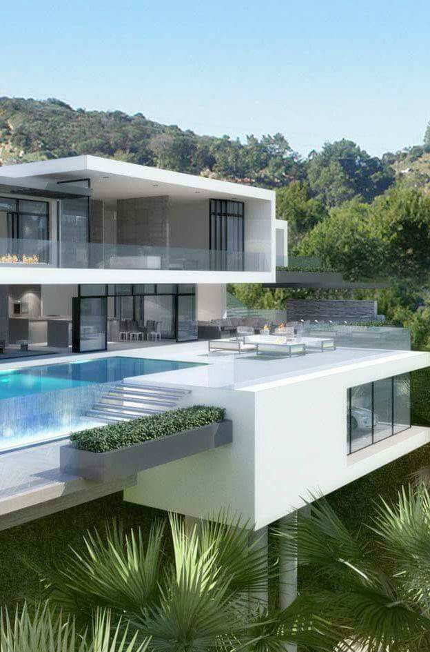 Casa blanco y gris con piscina moderna moderns houses for Casas modernas hollywood