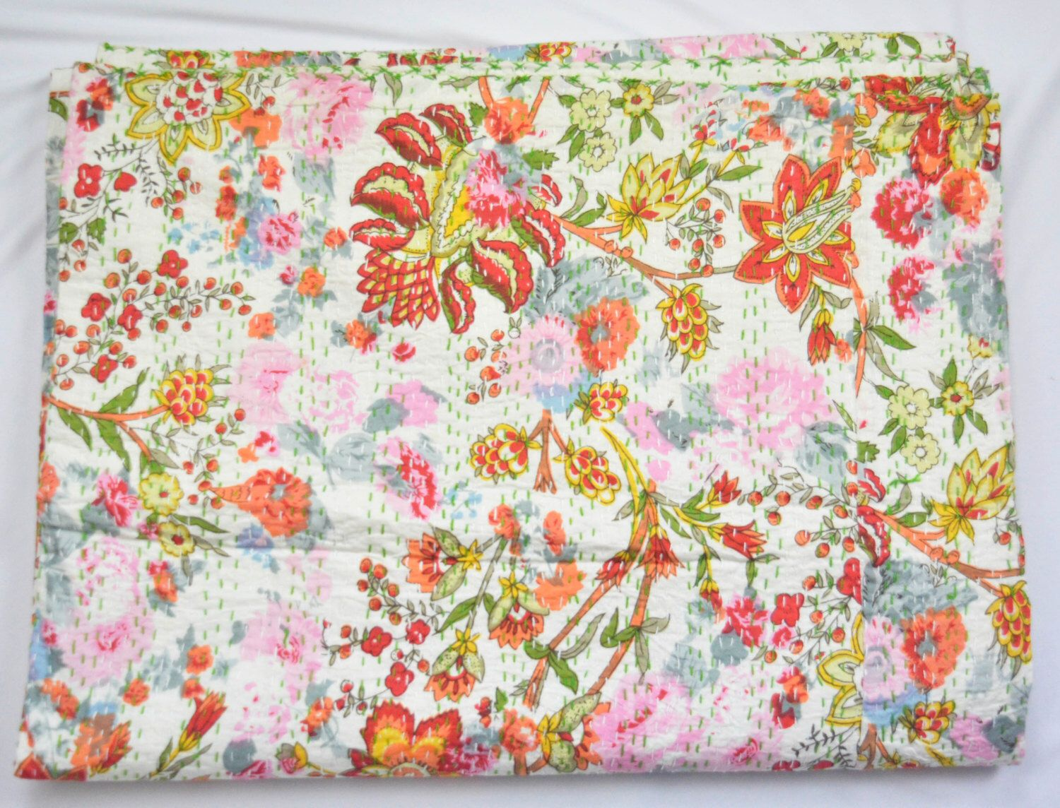 Spring Blossam FLORAL Handmade Indian kantha Quilt Queen - Twin - King- Boho Decor Reversible Kantha Quilt Throw Blanket Boho Bedding QUEEN by BombayFabricStore on Etsy https://www.etsy.com/listing/241694941/spring-blossam-floral-handmade-indian