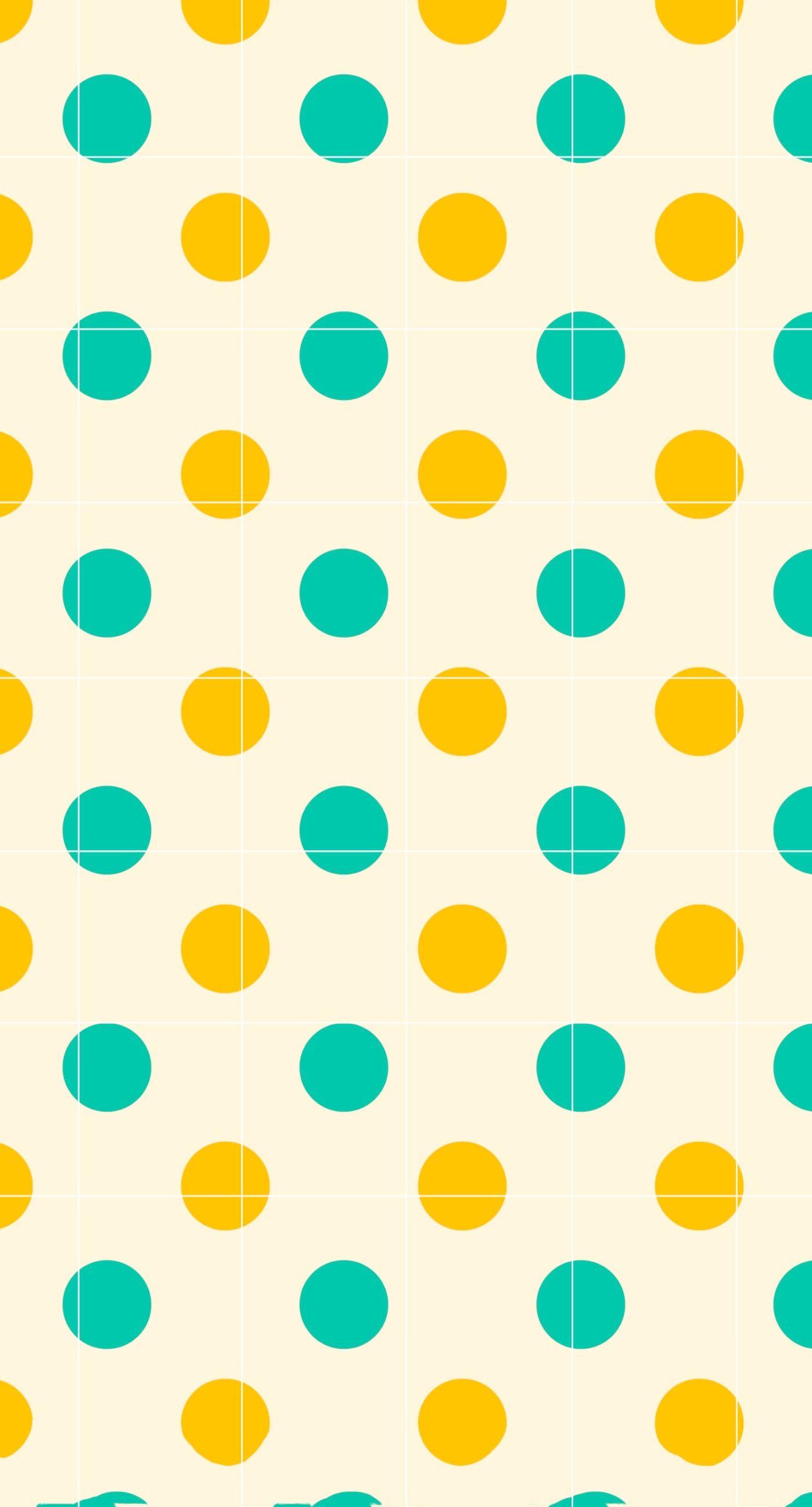 水玉棚緑橙罫線 | wallpaper.sc iPhone8Plus壁紙