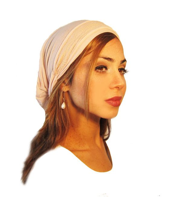 Tichel, Hair Snood, Head Scarf, Pre Tied Bandana Alternative: Pretty Pink Wrap Lace. . . see many more styles in shop
