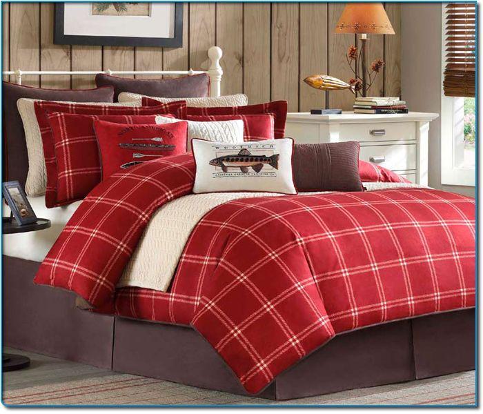 Image Detail For Scarlet Windowpane Plaid King Size Comforter Set