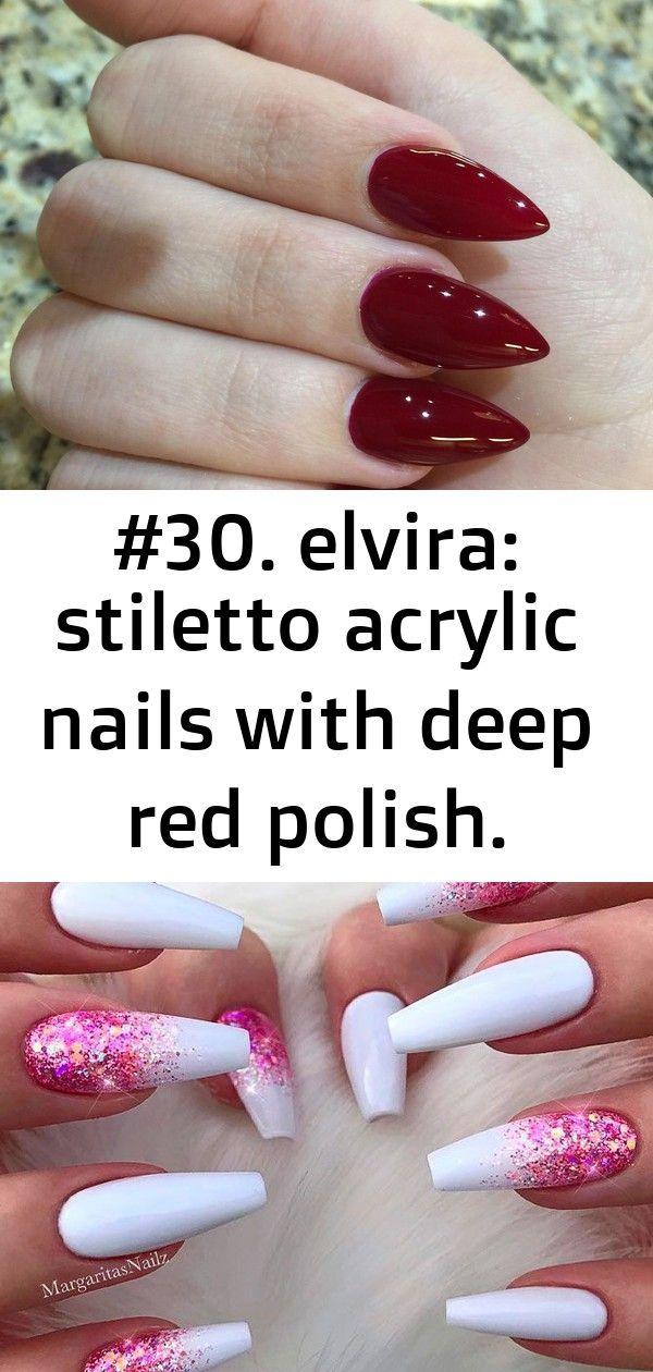 #30. elvira: stiletto acrylic nails with deep red polish. (world nails spa, clarksville, tn) #beauti