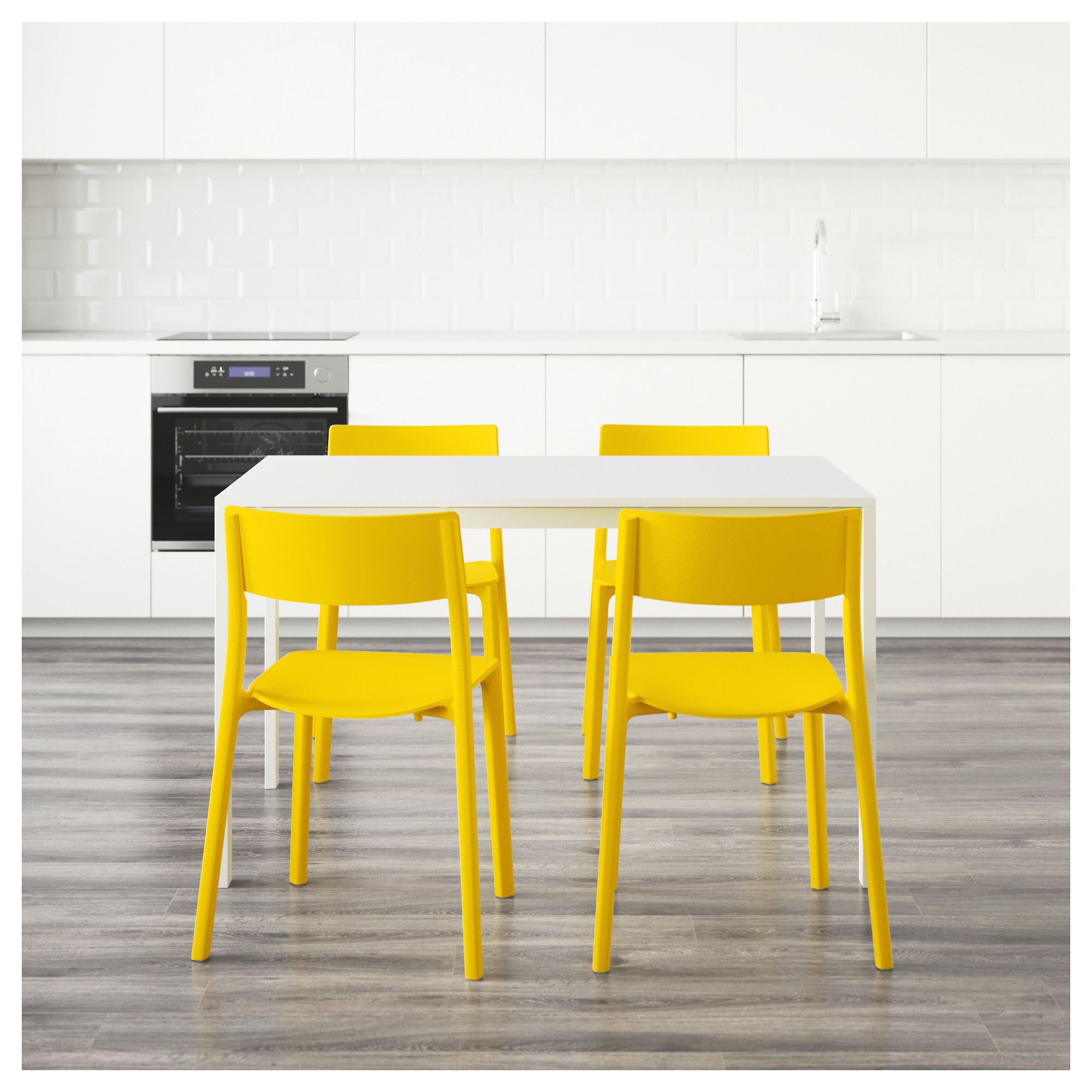 MELLTORP / JANINGE Table and 4 chairs, white, yellow | Yellow doors ...