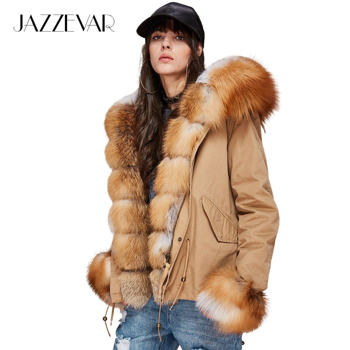 Jazzevar New Fashion Women S Luxurious Large Real Fox Fur Collar Cuff Hooded Coat Short Parkas Outwear Winter Jacke Fur Coat Vintage Short Parka Winter Outwear [ 1200 x 1200 Pixel ]