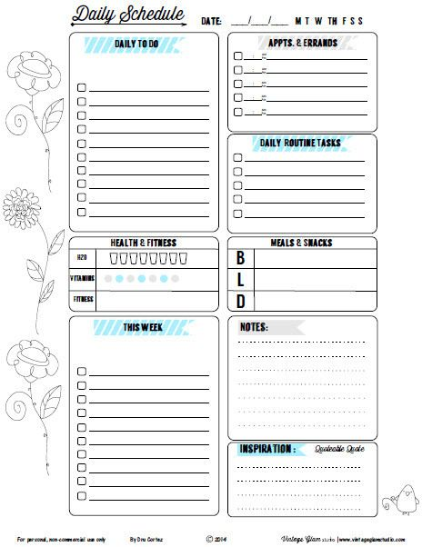 Doodled Floral II Daily To Do List   Free Printable Download  Free Daily Planner Download