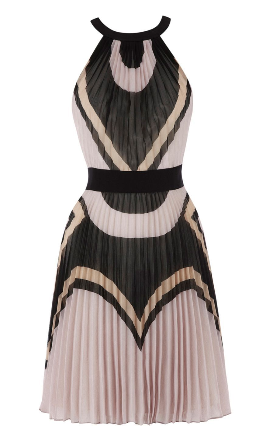 Karen Millen  Deco Colourblock Pleated Dress  £175.00  Cinches in the waist and balances out proportions.