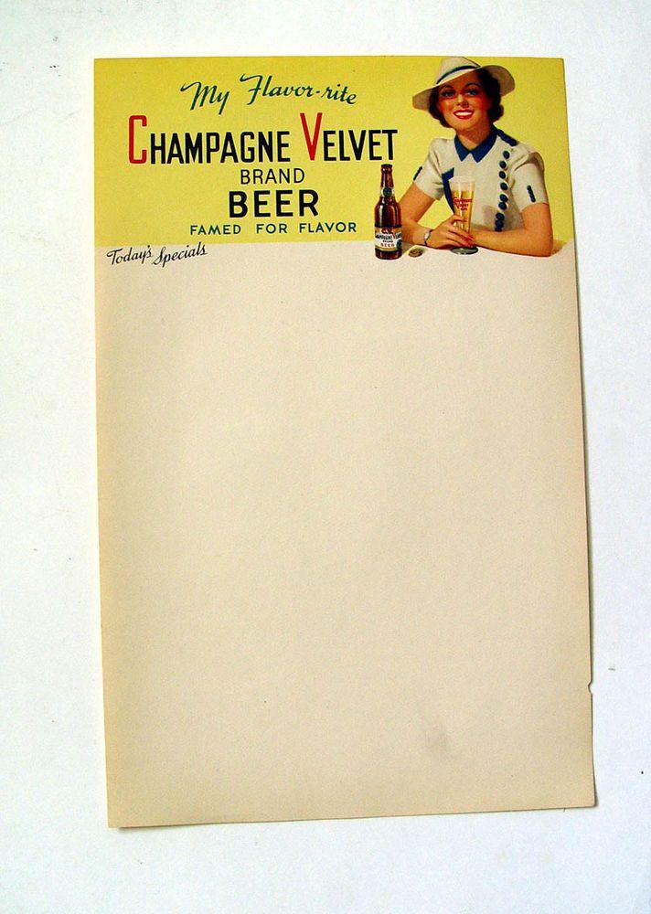 CLASSY DAME ORIGINAL 1930s MINT CV CHAMPAGNE VELVET BEER ADVERTISING