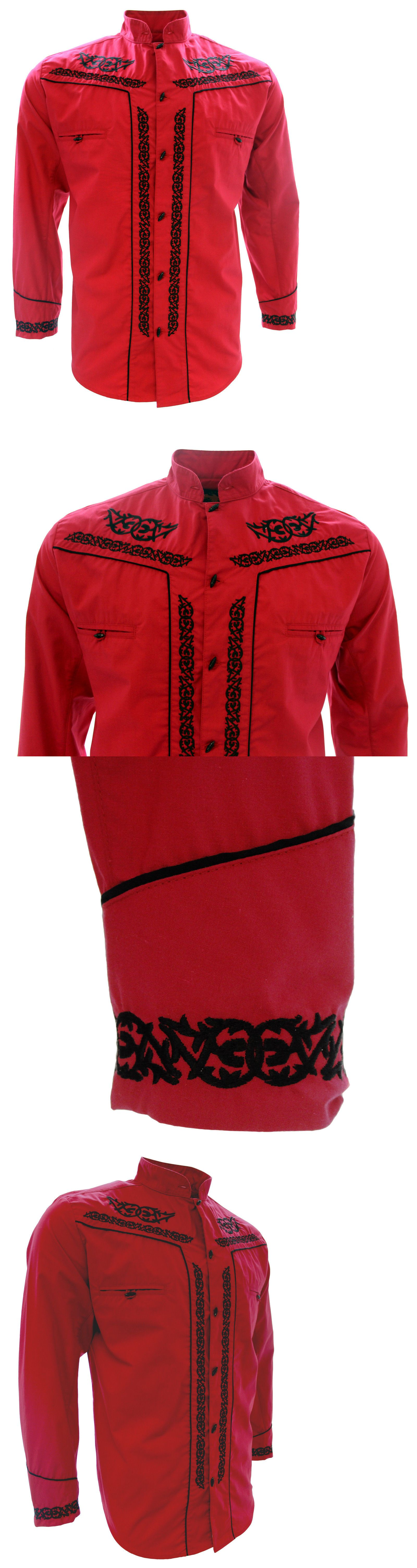 Latin America 155252  Men S Charro Shirt Camisa Charra El General Western  Wear Red Long Sleeve -  BUY IT NOW ONLY   34.99 on  eBay  latin  america   charro ... 2d33c63b2