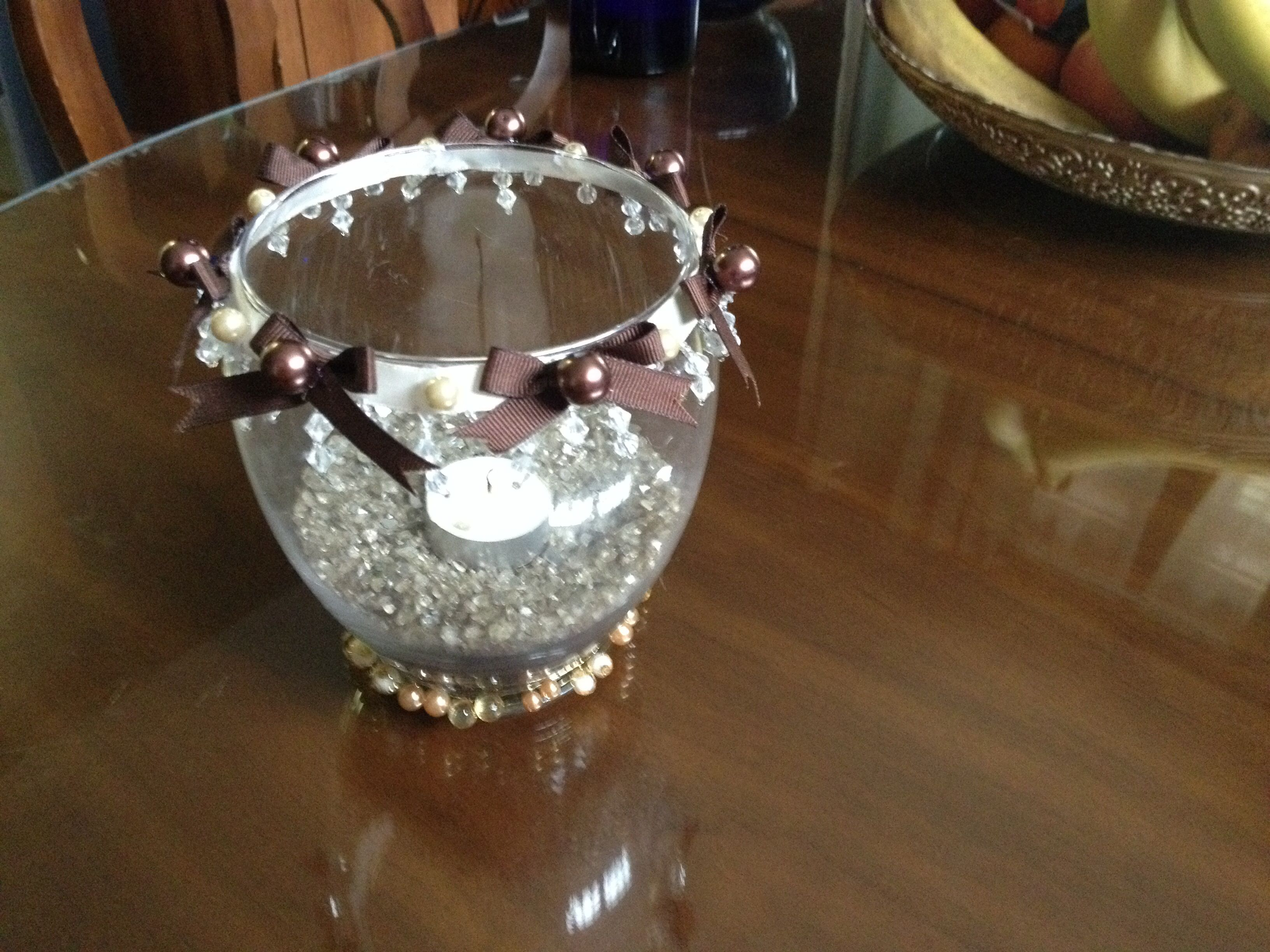 Round glass vase with beaded fringe around the top brown ribbon round glass vase with beaded fringe around the top brown ribbon bows glued in between champagne glass beads brown glass beads in the centre of each bow reviewsmspy