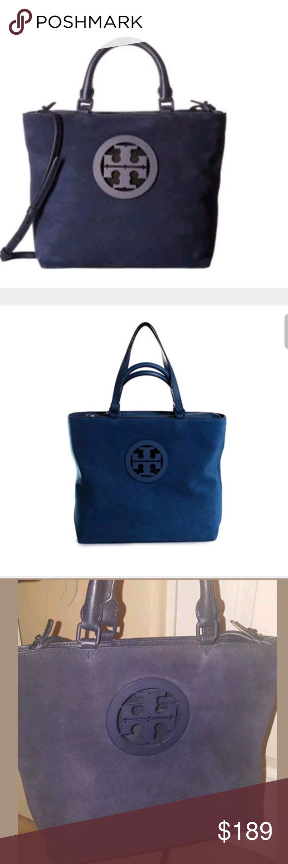 1824d13d03d Tory Burch  Charlie  Small Suede Tote A peekaboo stacked-T logo medallion  brands