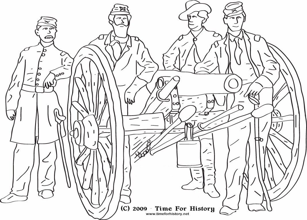 Civil War Coloring Pages Group Of Union Officers Pose Near A