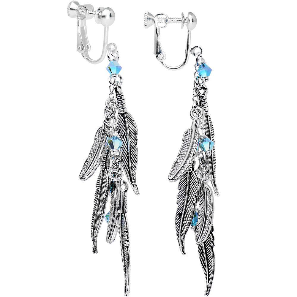 Cascade of Feathers Clip On Earrings Created with Swarovski Crystals