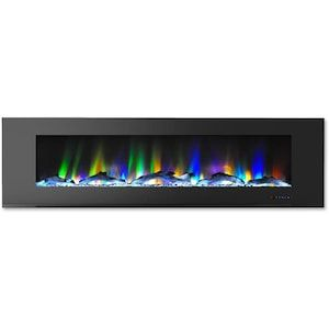 Cambridge 72 In Wall Mount Electric Fireplace In Black With Multi Color Flames And Driftw Wall Mount Electric Fireplace Wall Mount Fireplace Mounted Fireplace
