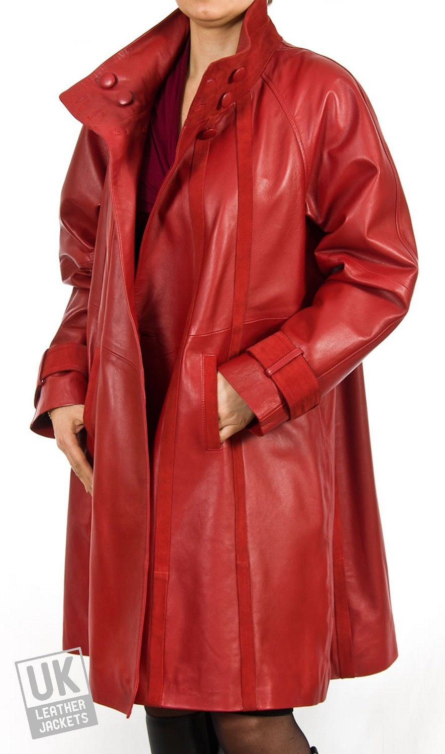 Women's Red Leather & Suede Swing Coat - Plus Size - Lara - Red ...