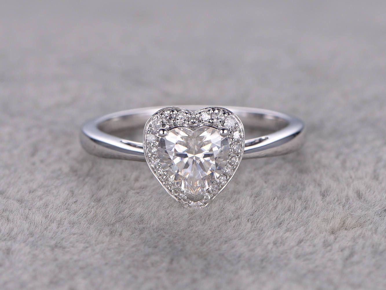 Ct brilliant moissanite engagement ring white goldplain gold band