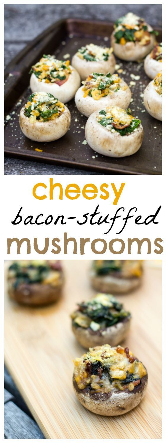 Yum! These cheesy-bacon stuffed mushrooms are a great appetizer idea!