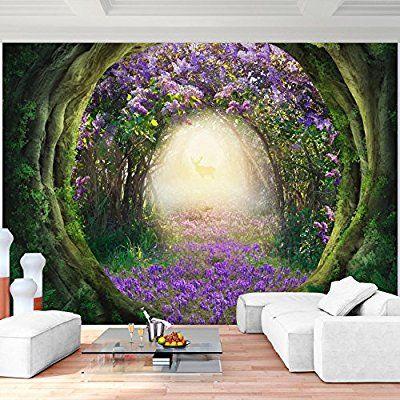 Fototapete Lila Blumen Wald 352 x 250 cm Vlies Wand Tapete