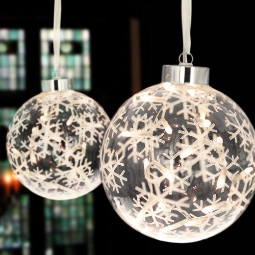 Large Hanging Glass Christmas Bauble With 20 Led Lights