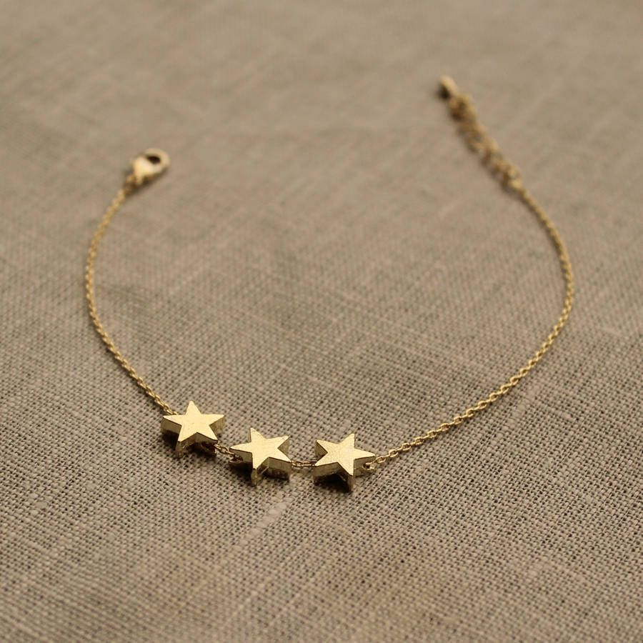 Delicate gold three star bracelet by little nell