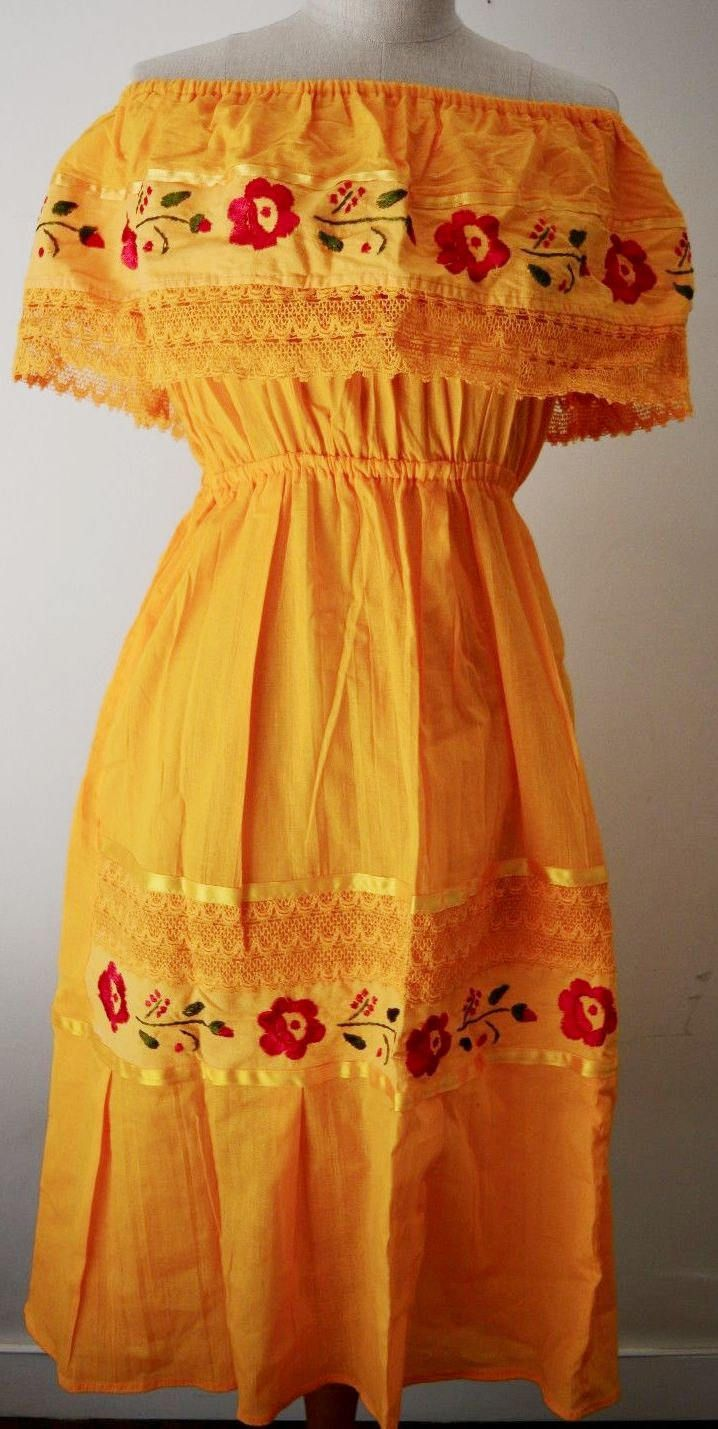 Dress Off Shoulder Mexican Yellow Embroidered Flowers Lace Ribbon All Colors Available One Size By Mariabonitacreation Dresses Mexican Dresses Summer Dresses [ 1429 x 718 Pixel ]