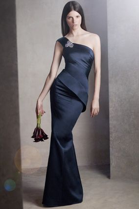 Vera Wang One-Shoulder Satin Dress with Asymmetrical Skirt