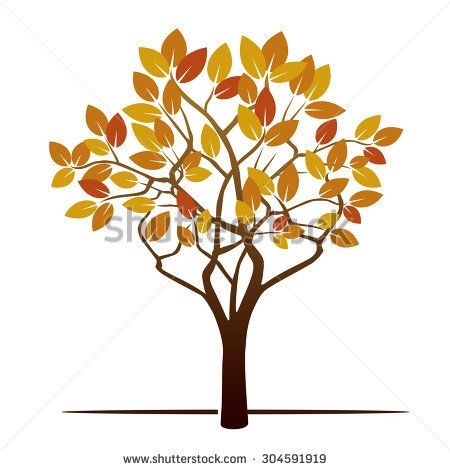 Autumn Tree and Color Leafs. Vector Illustration.