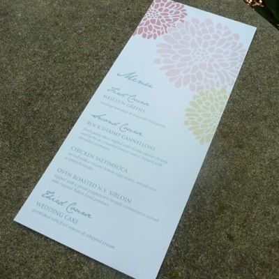 Reception Menu Template  Chrysanthemum Flowers  Menu Templates