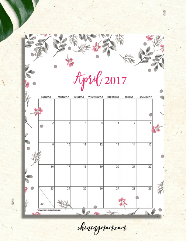 picture regarding Pretty Calendars called Lovely Absolutely free Printable Calendars for April 2017! d i y