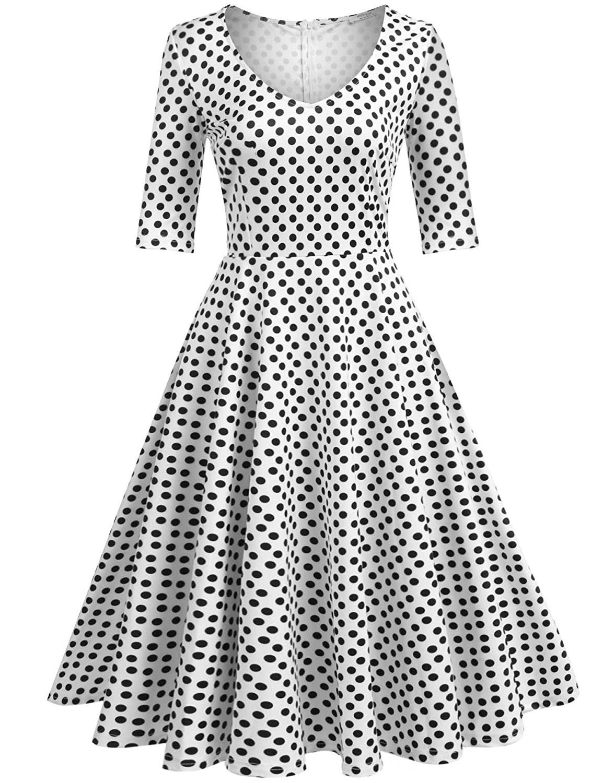 242fd3432 Meaneor Women's Half Sleeve Swing Dress Floral Print Knee Long A Line Tea  Dress