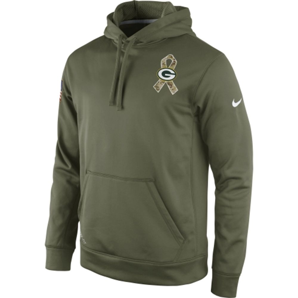 NFL Mens Nike  Green Bay Packers Nike 2014 Salute To Service KO Performance  Hoodie - Olive finest selection 3aa35 ... c84a4aa0f