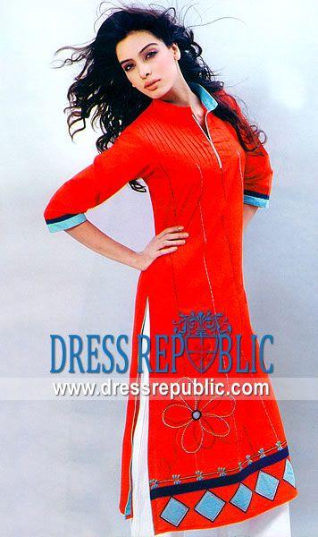 Deep Red Hydrosols, Product code: DR3632, by www.dressrepublic.com - Keywords: Cotton Salwar Kameez, Cotton Light Salwar Kameez Dress, Pakistani Indian Cotton Styles