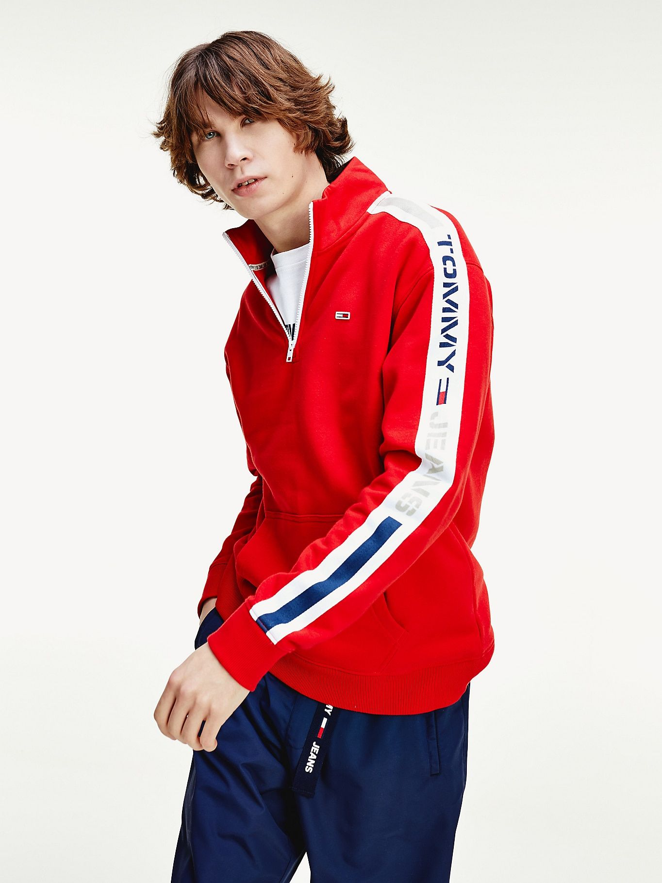 TH Cool Logo HalfZip Tracksuit Jacket RED Tommy