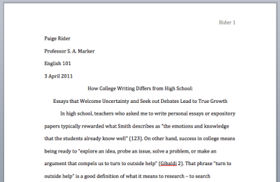 mla format heading college