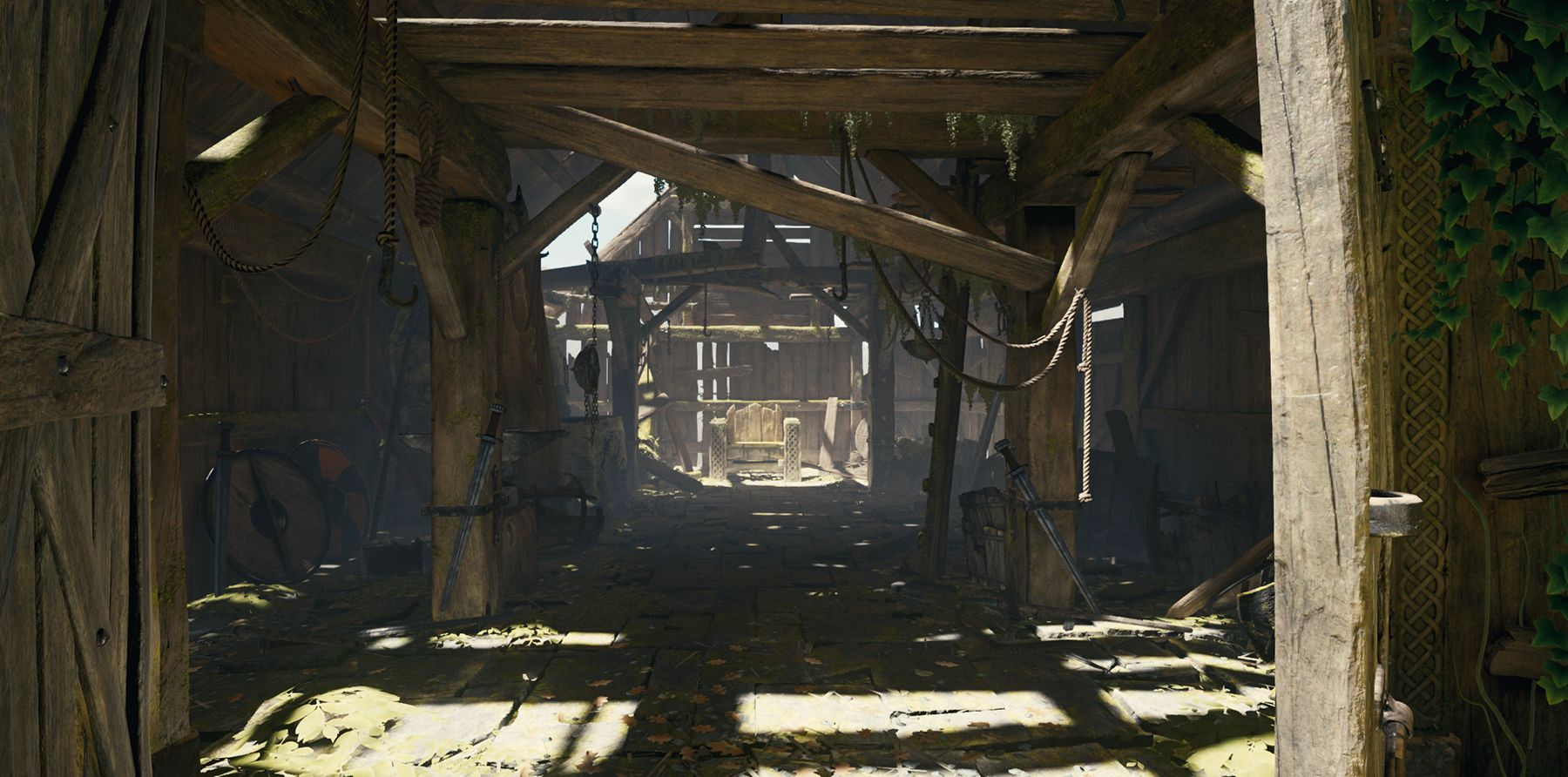 Game view of Smithy interior in 'The Blacksmith - Environments