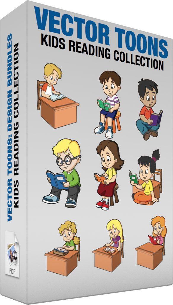 ac3d31fb3b Kids Reading Collection #cartoon #clipart #vector #vectortoons #stockimage  #stockart #