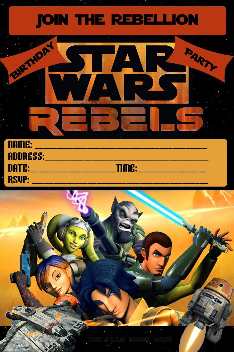 Star Wars Rebels Party Invitation Free Printable StarWars StarWarsRebels