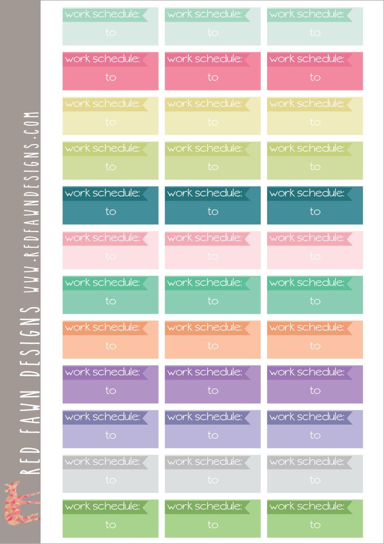 Work Schedule Stickers   Matte Planner Stickers  Erin Condren
