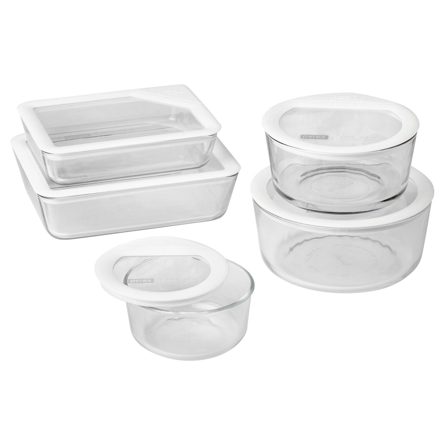 Pyrex 10pc Ultimate Glass Lid Set White Glass Food Storage Food Storage Container Set Pyrex Storage