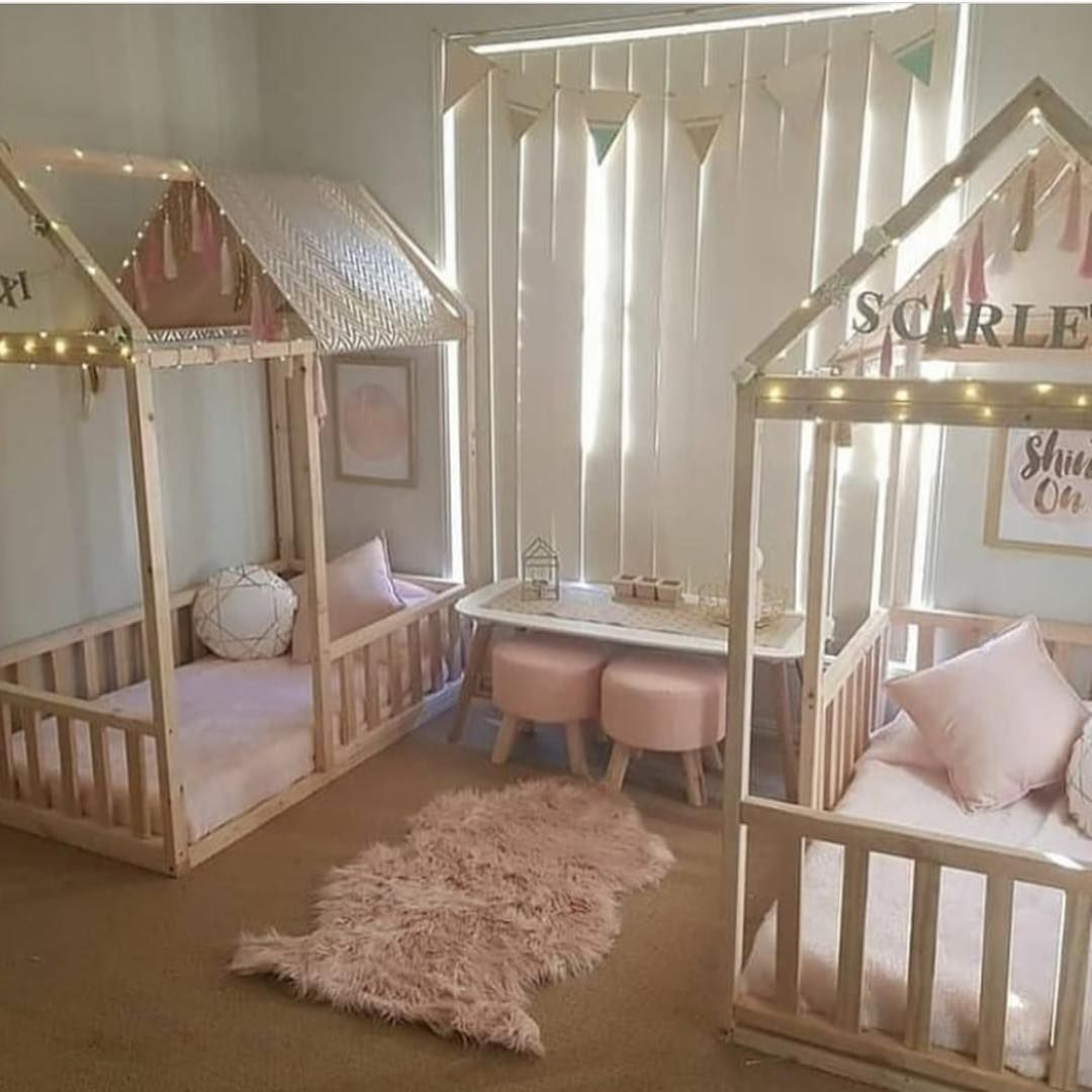 Interior Design Elegant Pink White Gray Baby Girl Room: Kids/childrens Shared Girls Bedroom Wonderland, Twinkle