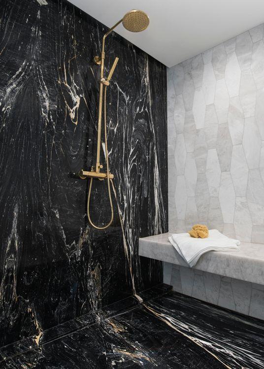 2017 Dhda Details Detroit Design In 2020 Bathroom Design Black Black Marble Bathroom White Marble Bathrooms